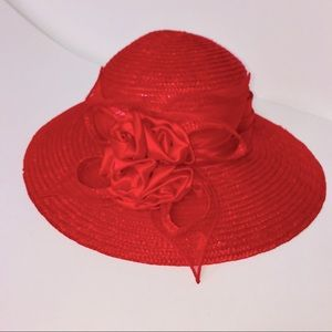 Red floral sun beach hat nwot